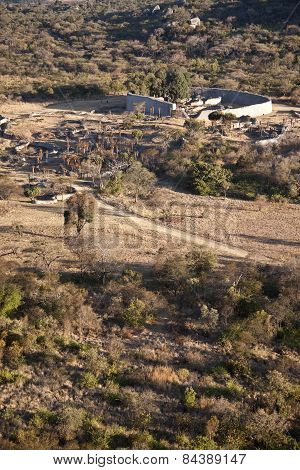 a far away view of the great Zimbabwe complex