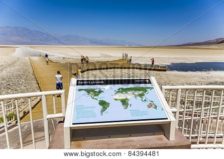 Badwater, Deepest Point In The Usa, Saltsee Mixed With Minerals In The Desert Valley, Deeper Than Se