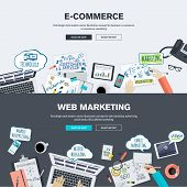 Set of flat design illustration concepts for e-commerce and web marketing. Concepts for web banner and promotional material. poster