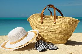 White Hat And Wicker Bag