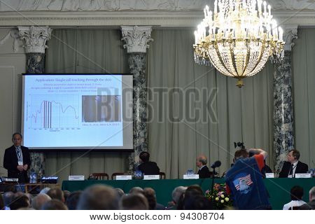 ST. PETERSBURG, RUSSIA - JUNE 22, 2015: Plenary thesis of Nobel Prize Laureate in physics Steven Chu during Saint Petersburg scientific forum