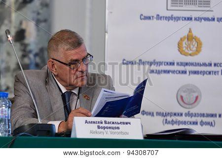 ST. PETERSBURG, RUSSIA - JUNE 22, 2015: Deputy of Legislative Assembly of St. Petersburg, professor Alexey Vorontsov during the St. Petersburg scientific forum