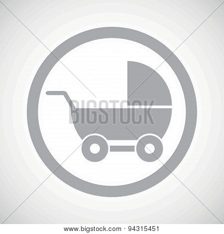 Grey pram sign icon