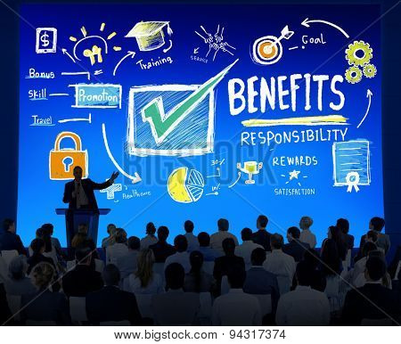 Benefits Gain Profit Earning Income Business Seminar Concept poster