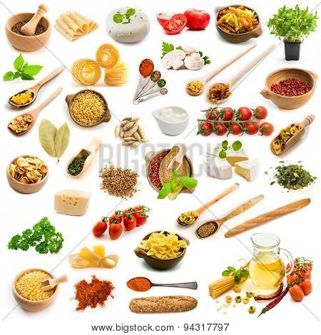 collage food ingredients Italian cuisine on a white background