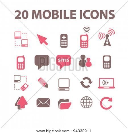 smartphone, phone, connection isolated icons, signs, illustrations, vector for internet, website, mobile application on white background