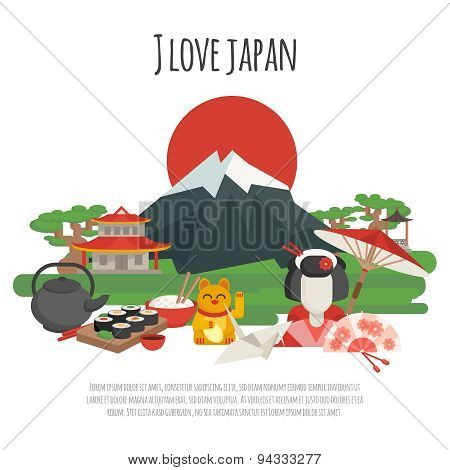 Japanese tradition Symbols Poster