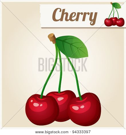 Cherry. Detailed Vector Icon