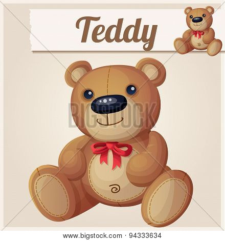 Teddy bear with red bow. Cartoon vector illustration. Series of children's toys