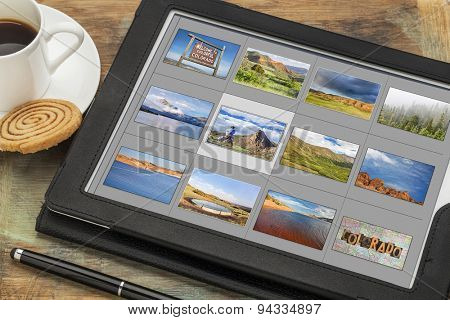 reviewing image library (grid of thumbnails) on a digital tablet computer - colorful Colorado, lakes and mountains, all displayed pictures copyright by the photographer