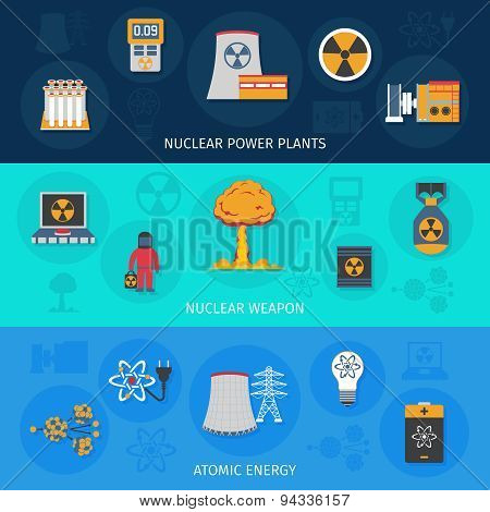 Nuclear energy flat banners set