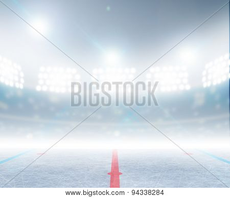 A generic ice hockey ice rink stadium with a frozen surface under illuminated floodlights poster