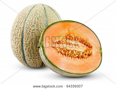 Ripe Melon Cantaloupe Isolated On White Background