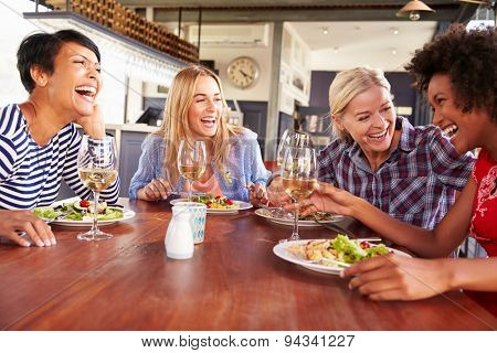 Female friends eating at a restaurant