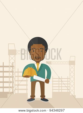 A happy young african construction worker holding hard hat and blueprint plan. A Contemporary style with pastel palette, soft beige tinted background. Vector flat design illustration. Vertical layout