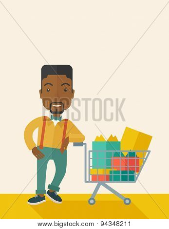 A happy african-american man standing with his shopping cart. . A Contemporary style with pastel palette, soft beige tinted background. Vector flat design illustration. Vertical layout with text space