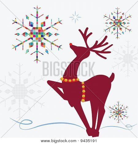 Reindeer Colorful Snowflakes