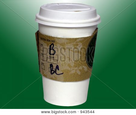 a delicious cup of hot coffee to go on a cool green background. poster
