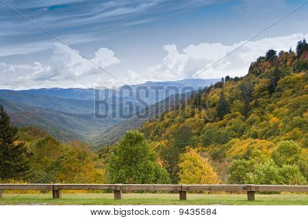 Autumn Colors View From Newfound Gap Road On Smoky Mountains