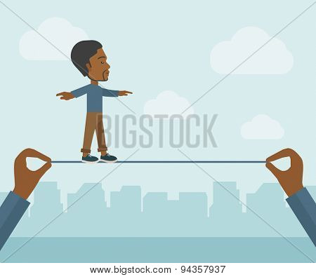 A black businessman walking on wire stretched by two hands balancing himself to achieve his goal in marketing. Determination and great achievement concept. A Contemporary style with pastel palette