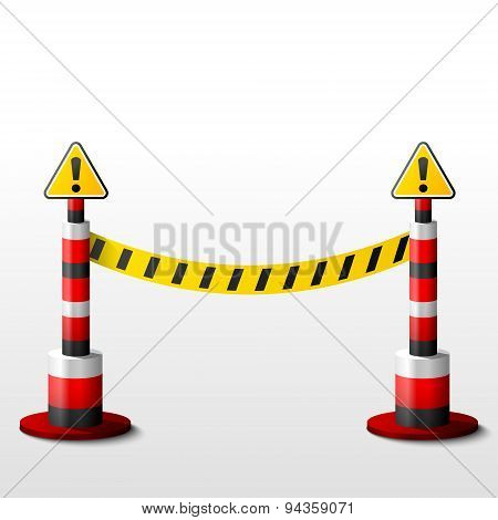 Blocking Bollards With Attention Signs