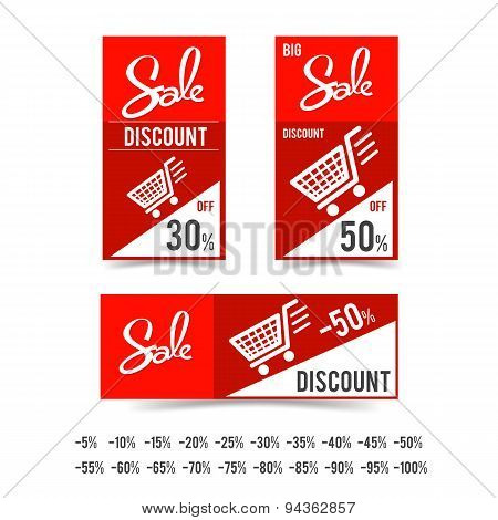 Set Of Sale Tag Circle Banner Ribbon Paper - Vector Illustration 002