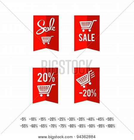 Set Of Sale Tag Circle Banner Ribbon Paper - Vector Illustration 005