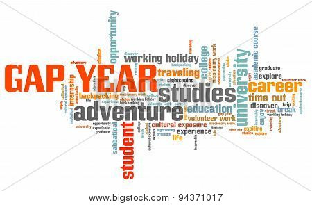 Gap year holiday issues and concepts word cloud illustration. Word collage concept. poster