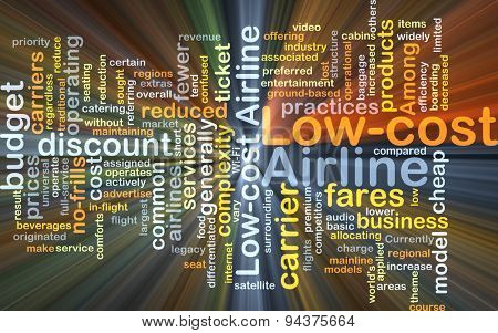 Background concept wordcloud illustration of low-cost airline glowing light