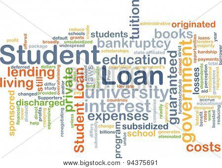 Background concept wordcloud illustration of student loan poster