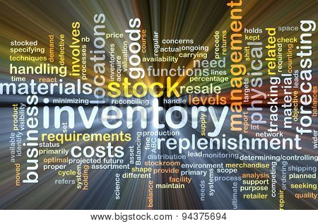 Background concept wordcloud illustration of inventory glowing light