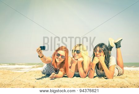 Happy Girlfriends Taking A Selfie At Beach - Concept Of Friendship And Fun In The Summer
