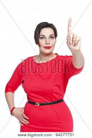 Plus Size Woman Making Choice Isolated. Focus On Hand