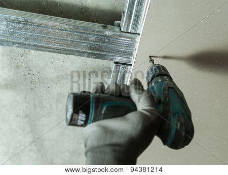 Man Fixes The Drywall