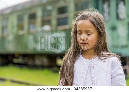 Thai Girl With Train Carriage