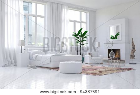 Contemporary spacious white bedroom interior with monochromatic decor and comfortable bed and armchairs below large bright sunny view windows. 3d Rendering.