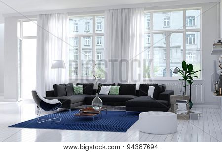 Comfortable modern sitting room interior with monochromatic white walls, floor and ceiling, large view windows and a upholstered settee and armchair with a blue rug and houseplants. 3d Rendering.