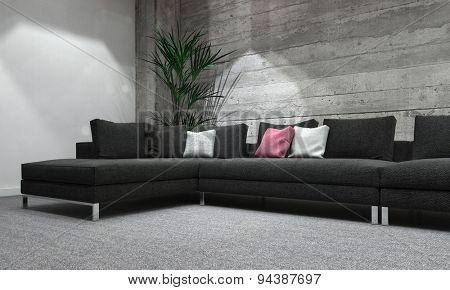 Comfortable Sectional Sofa in Modern Room with House Plant and Colorful Cushions, Interior of Grey Room with Rustic Wooden Wall and Modern Lighting. 3d Rendering