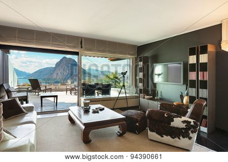 Architecture, veranda of a penthouse, view from living room