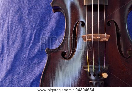 Violin Background With Bright Blue