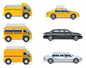 Set of the taxi service related icons poster