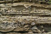 Sedimentary Rock (Pyroclastic deposit) at Suwolbong UNESCO Global Geopark in jeju Island Korea. poster