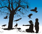 Vector illustration silhouettes of birds who are fed in winter children poster