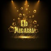 Creative golden text Eid Mubarak shining in spotlight on stars decorated brown background for Muslim community festival, Eid Mubarak celebration.  poster