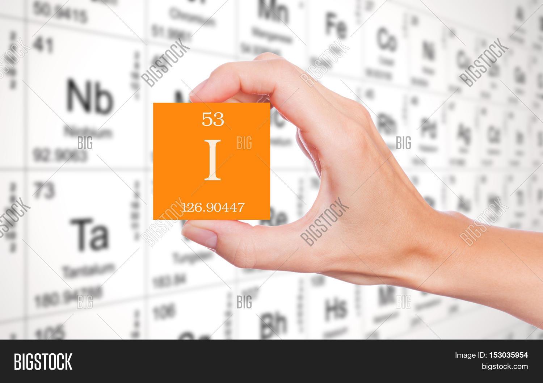 Iodine symbol handheld image photo free trial bigstock iodine symbol handheld in front of the periodic table urtaz Choice Image