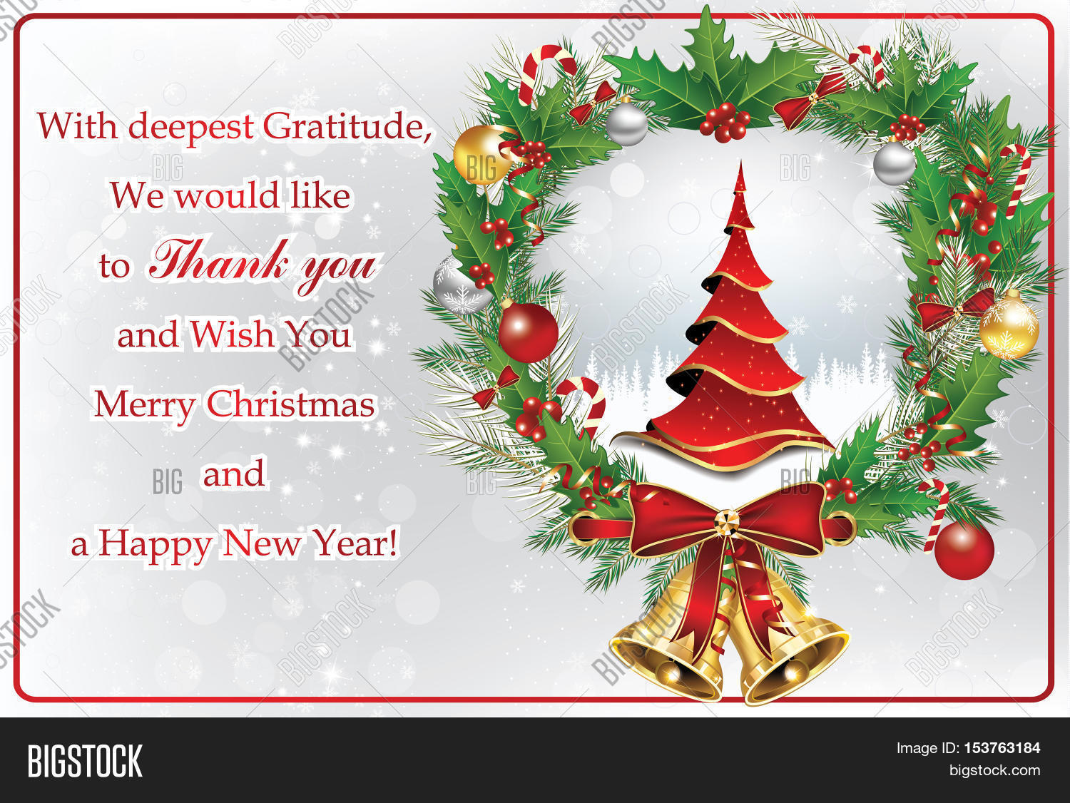 Thank you business greeting card image photo bigstock thank you business greeting card for christmas and new year contains a thank you message kristyandbryce Image collections