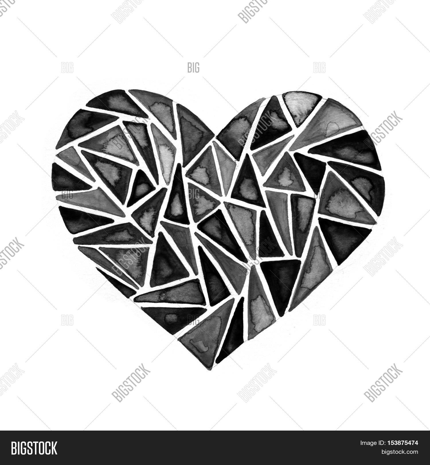 Polygonal linear heart black ink image photo bigstock polygonal linear heart black ink watercolor splash background abstract wireframe heart symbol low biocorpaavc Image collections