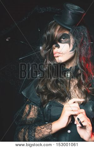 Fashion girls celebrating Halloween 2016. Haloween costumes. Masquerade party