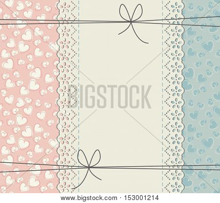 Stylish lace frame with cute hearts. Vector vintage freedom concept. Retro frame can be used for Valentine greeting cards, wedding invitations, greeting cards, baby shower invitations and more creative designs.