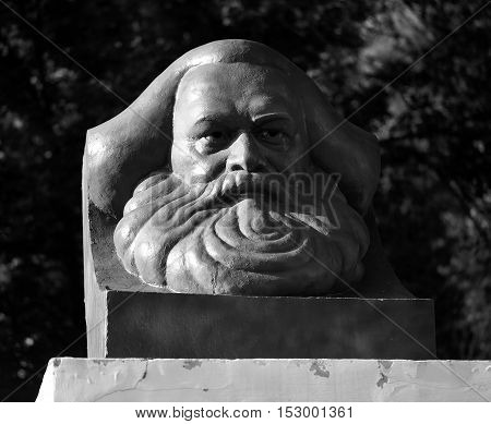 Karl Marx monument photographed in close up